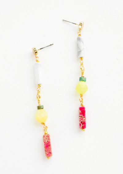 Drop earrings with marble and gemstone beads that resemble lemons