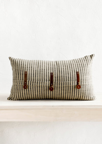 Liam Leather Trim Striped Pillow hover