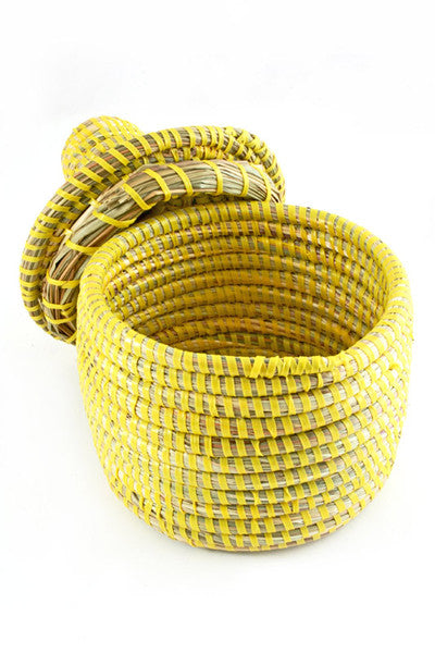 African Lidded Mini Storage Basket in Yellow