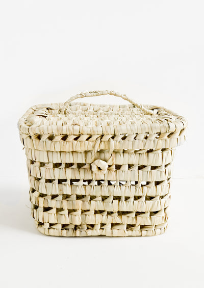 Palm Leaf Lidded Basket