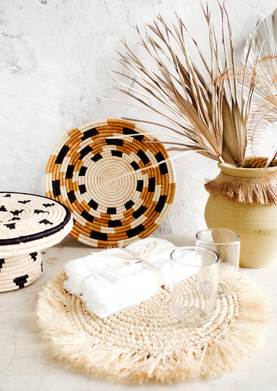 Checkered Raffia Bowl hover