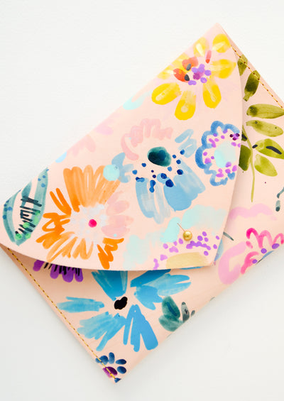 Floral Composition Leather Clutch