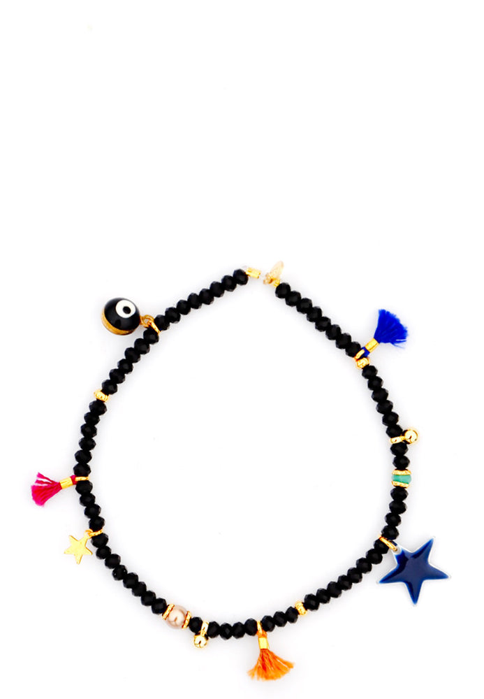 Black: Lilu Charm Bracelet in Black - LEIF