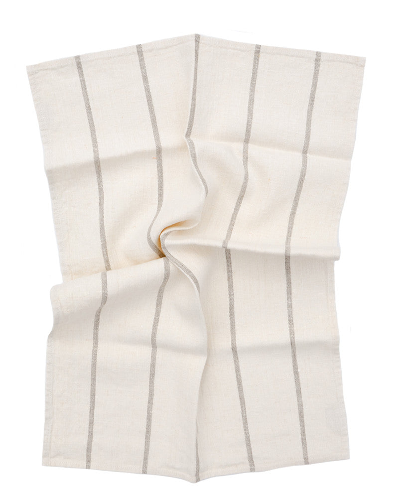 Ivory / Natural: Classic Stripe Linen Hand Towel in Ivory / Natural - LEIF