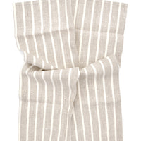 Natural / Ivory: Classic Stripe Linen Hand Towel in Natural / Ivory - LEIF
