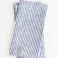 Indigo Stripe: Pair of fabric dinner napkins in navy blue and white stripes