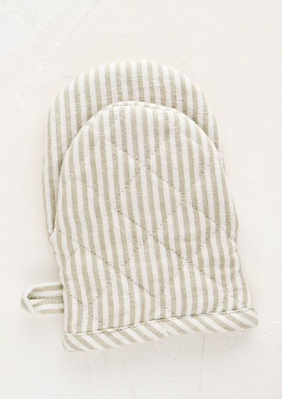 Striped French Linen Oven Mitt hover