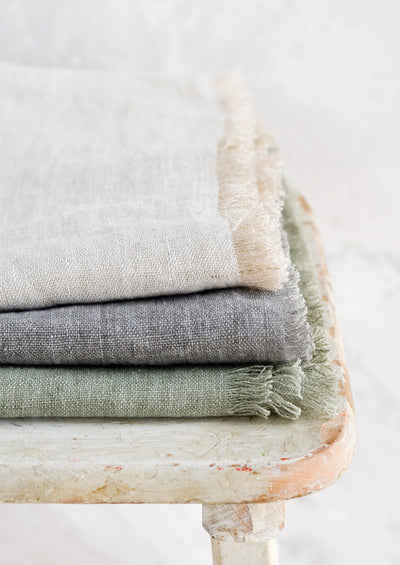Frayed Edge Linen Table Runner