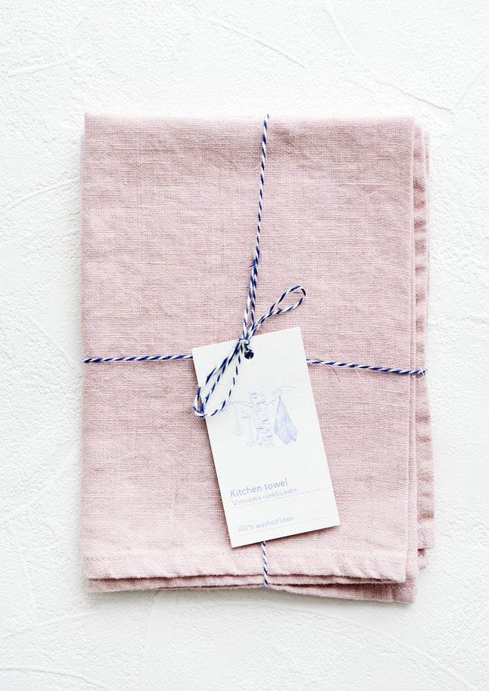 Pink Lavender: A folded lilac linen tea towel tied in baker's twine with a decorative hangtag.