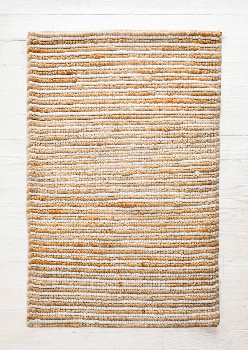 2: Looped Wool Striped Jute Rug in  - LEIF