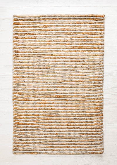 Looped Wool Striped Jute Rug