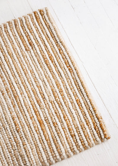 Looped Wool Striped Jute Rug in  - LEIF