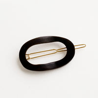 Black: Looped Wood Hair Clip