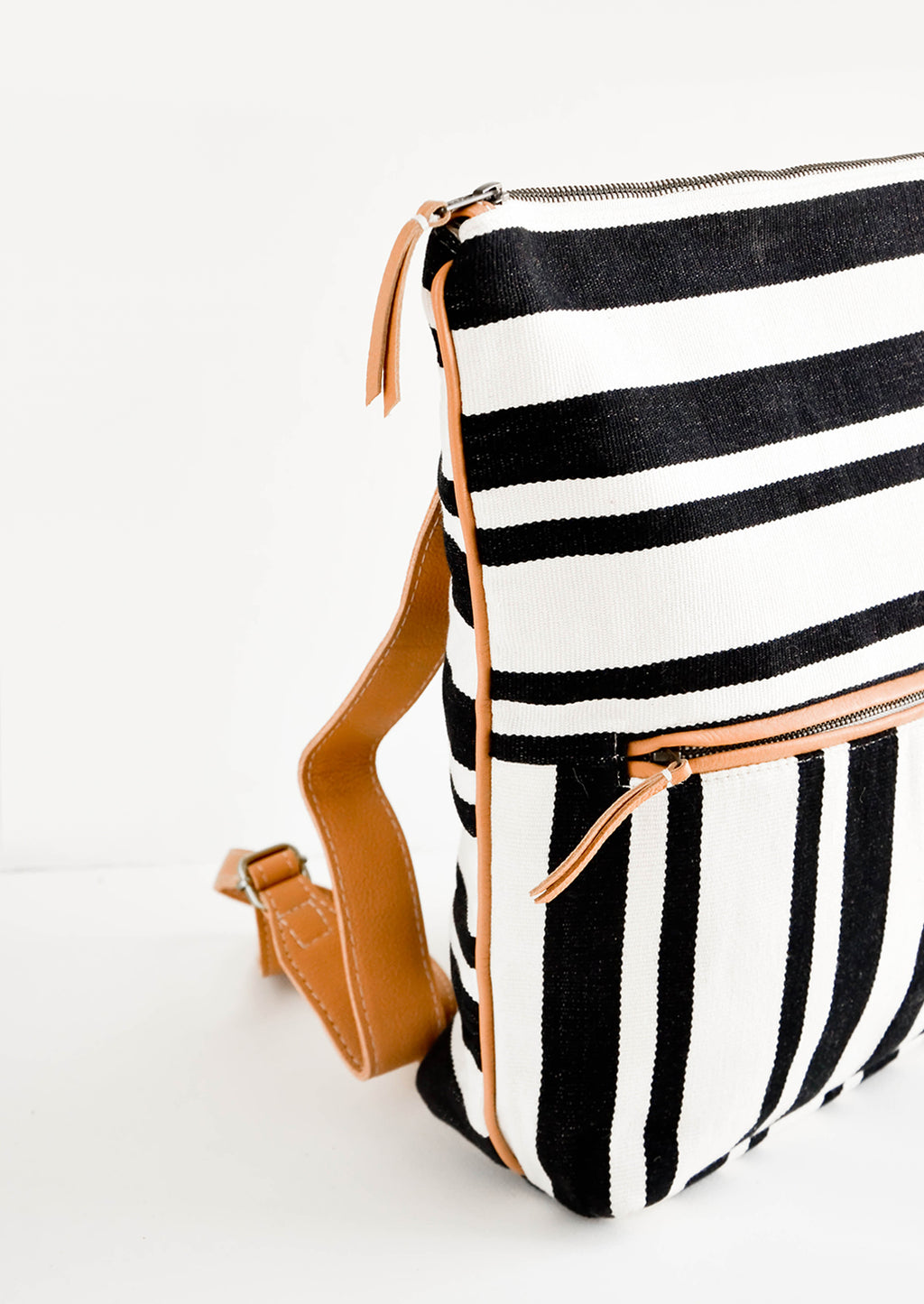2: Fashion backpack in black and white striped cotton canvas with tan leather accents