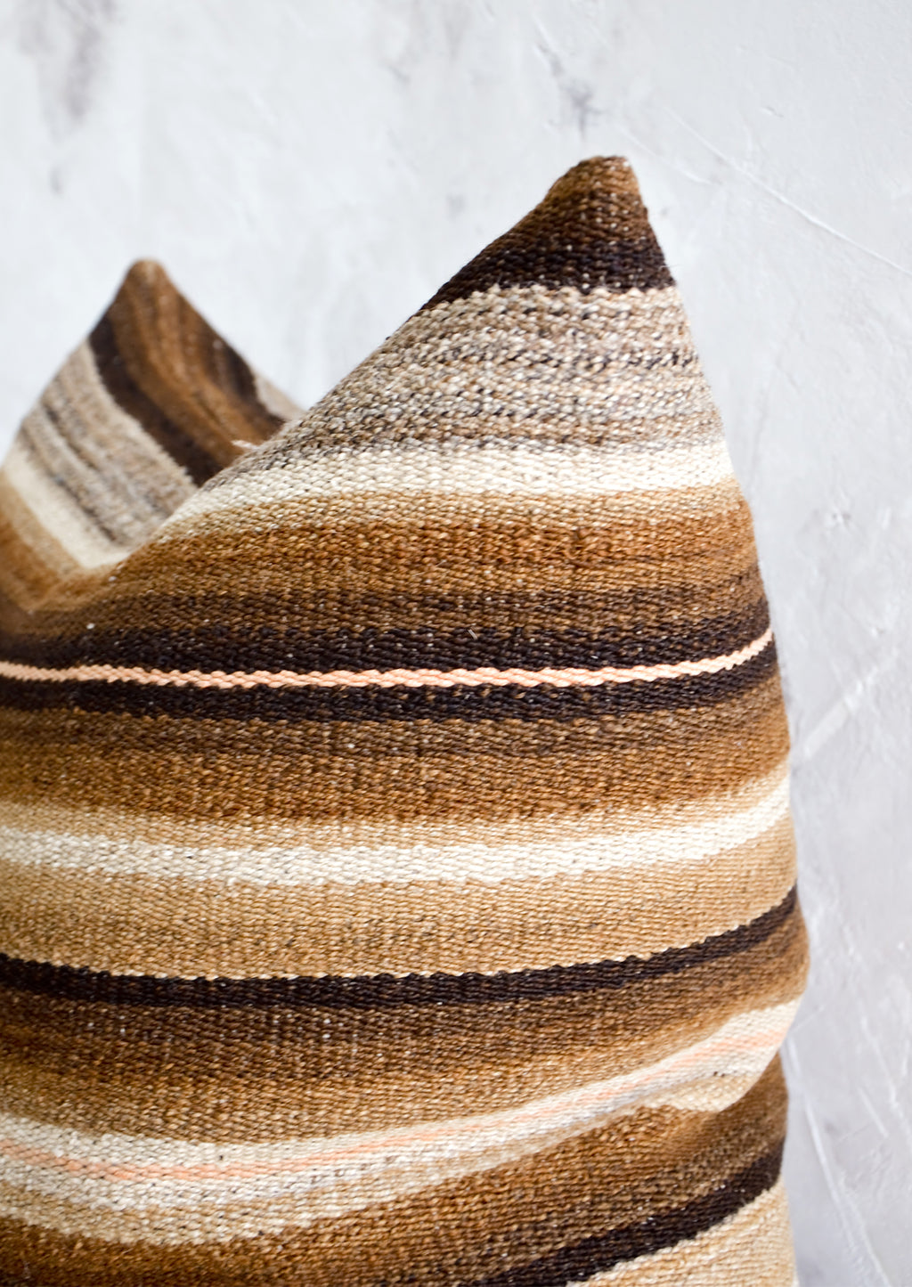 2: Throw pillow cover made from vintage brown and cream striped wool