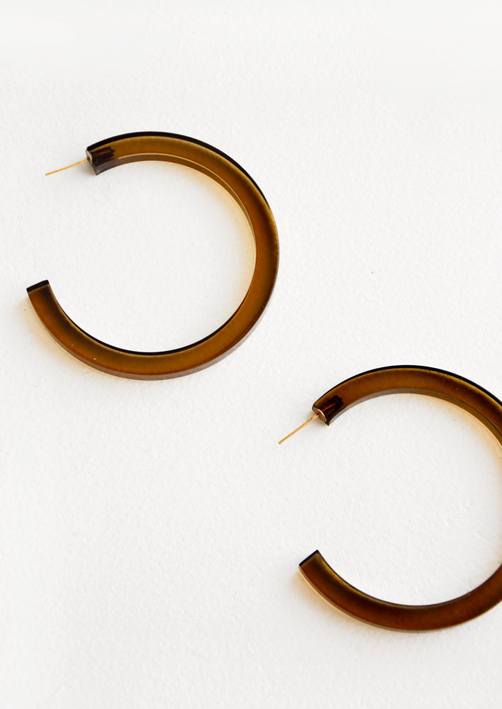 Military: Lucite Hoop Earrings in Military - LEIF