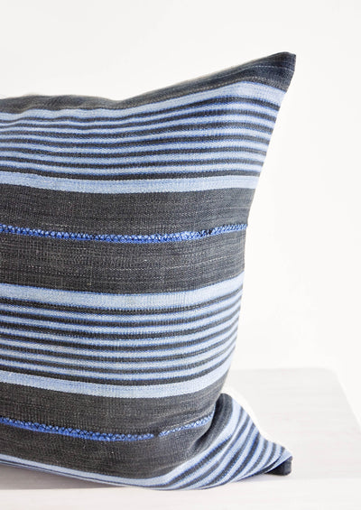Mali Cloth Pillow in Grey & Blue Stripe hover