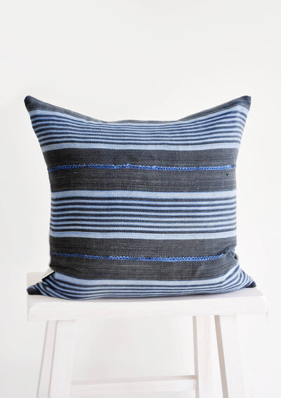 Mali Cloth Pillow in Grey & Blue Stripe