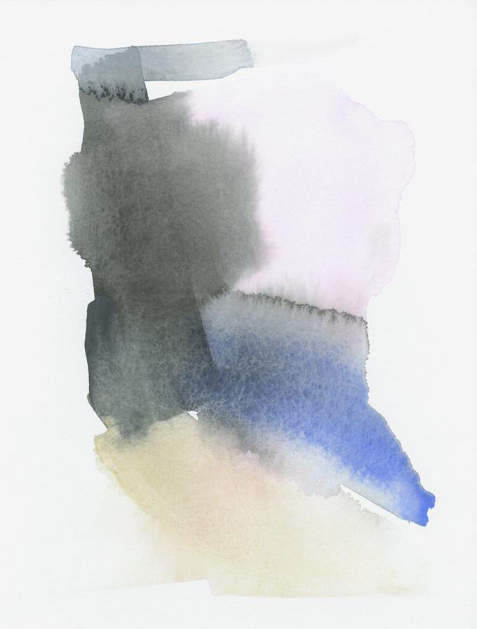 Patches of black, pink, blue, and beige watercolor meet to form an imperfect rectangular shape on a white background.