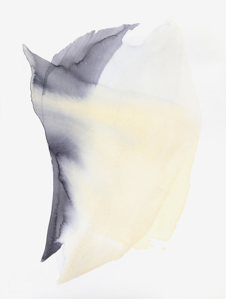 1: A swooping form created by yellow and charcoal watercolor paint seems to be moving on its white canvas.