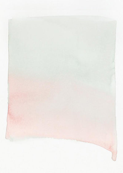 A gradient of pink and gray watercolor forms a rectangular shape.