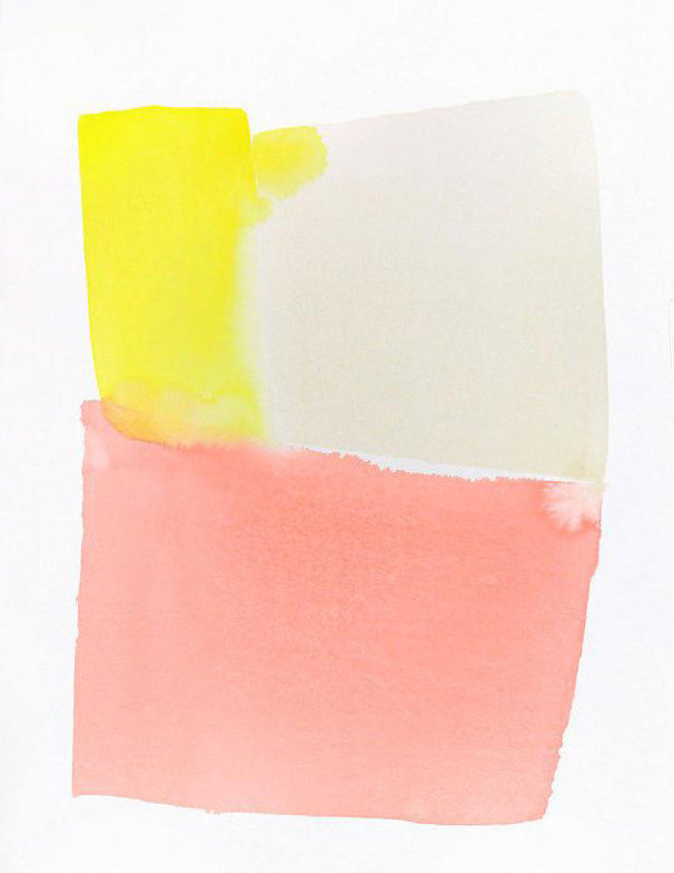 1: A rectangle made of blocks of yellow, beige, and pink watercolor sits on a white canvas.