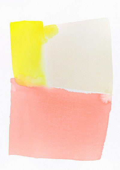 A rectangle made of blocks of yellow, beige, and pink watercolor sits on a white canvas.