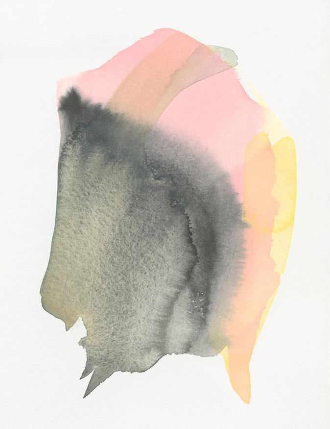 1: An abstract form in black, pink, and yellow watercolor floats on a white background.
