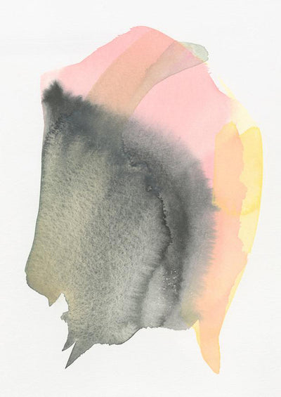 An abstract form in black, pink, and yellow watercolor floats on a white background.