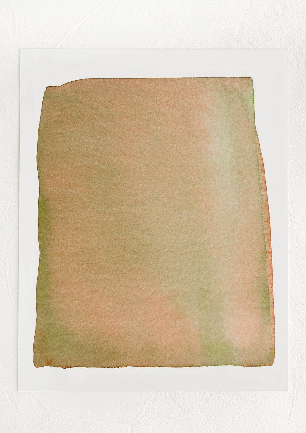 1: An art print with squared watercolor form in layered brown and olive green.