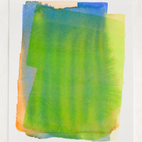 1: Art print of a watercolor abstract form in green, yellow, blue and orange.