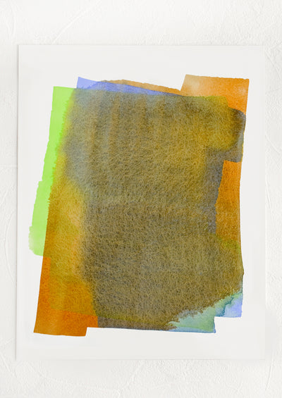 An art print featuring layered watercolor form in brown, blue, orange and green.