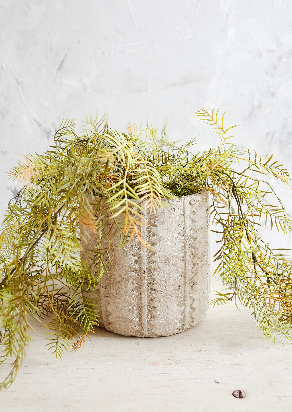2: Distressed planter in concrete-like texture with stripe and zigzag detailing with trailing plant
