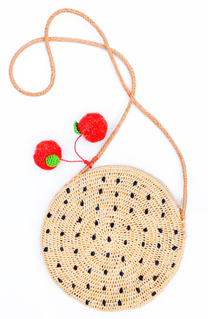 3: Fruit Pom Straw Crossbody Bag in  - LEIF