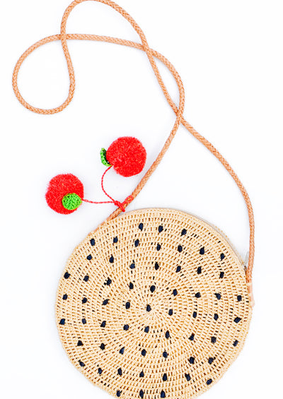 Fruit Pom Straw Crossbody Bag