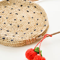 2: Fruit Pom Straw Crossbody Bag in  - LEIF