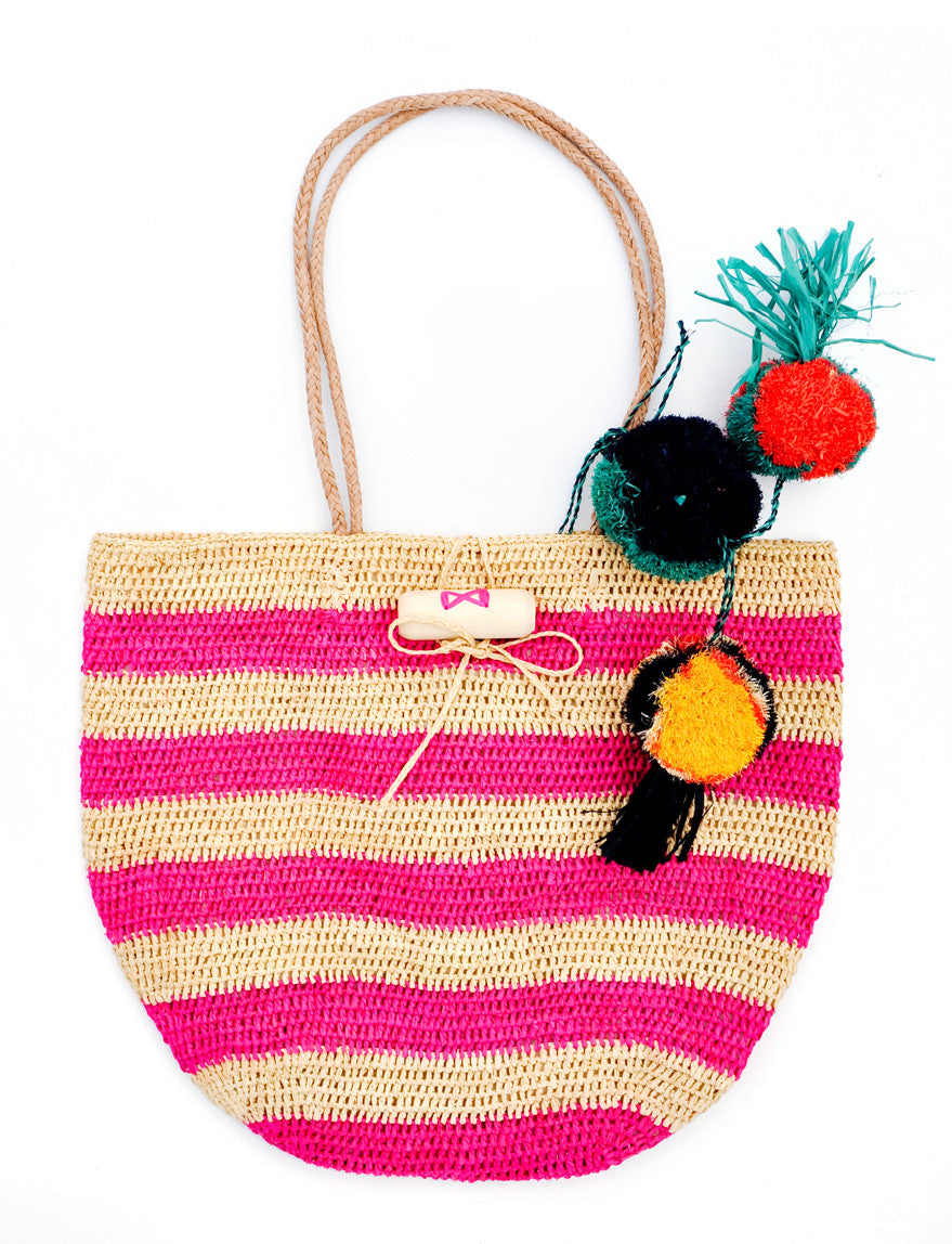 Pink: Rio Striped Straw Tote in Pink - LEIF