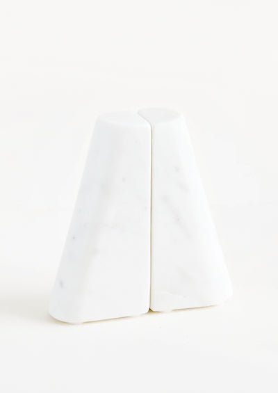 Tapered White Marble Bookends