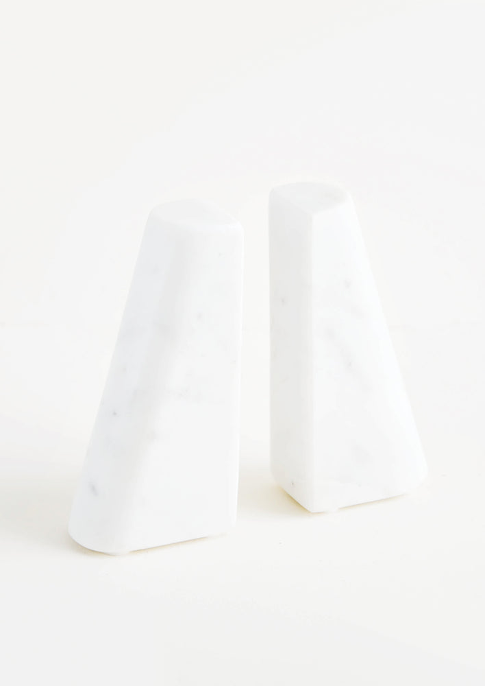 Tapered White Marble Bookends in  - LEIF