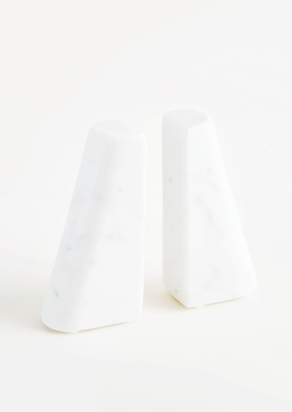 1: Tapered White Marble Bookends in  - LEIF