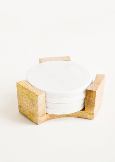 Marble Coaster Set with Stand