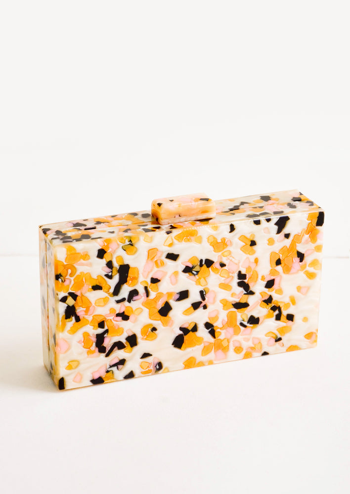 Candy Marble: Box shaped clutch in pink, orange and black spotted resin