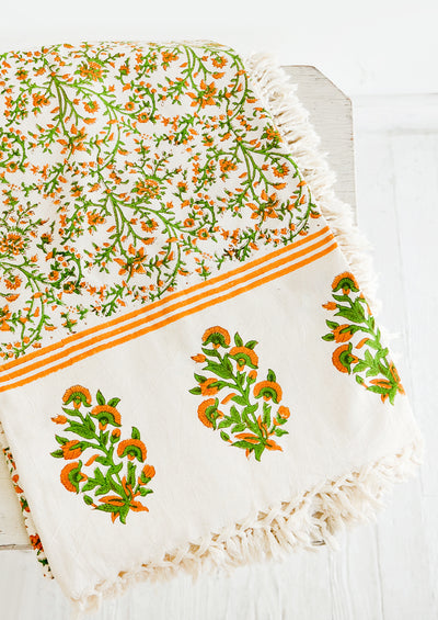 Marigold Tasseled Tablecloth