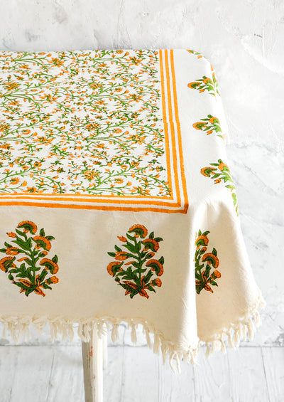 Marigold Tasseled Tablecloth hover