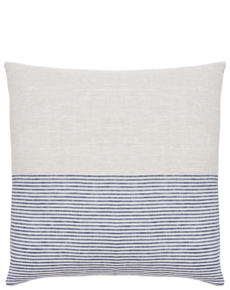5: Reverse side of square pillow in two fabrics, top half is natural linen and bottom half is blue and white stripes