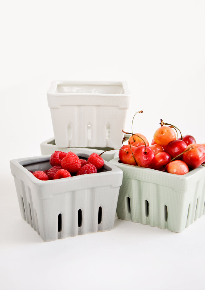 3: Meadow Ceramic Berry Basket in  - LEIF