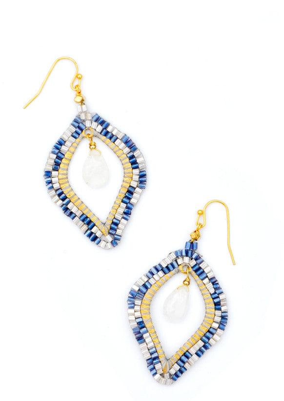 Blue / Moonstone: Medina Earrings in Blue / Moonstone - LEIF