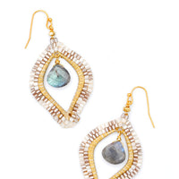 Cream / Labradorite: Medina Earrings in Cream / Labradorite - LEIF