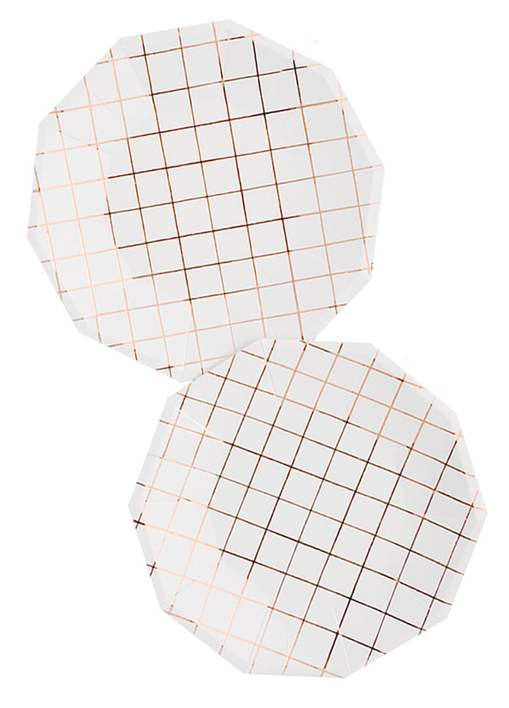 Copper Grid Paper Plates - LEIF