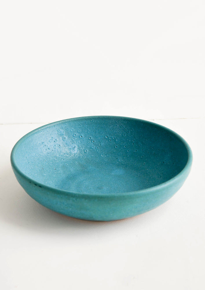 Salad Bowl / Rustic Turquoise: Handmade ceramic bowl in wide, shallow shape and rustic turquoise glaze
